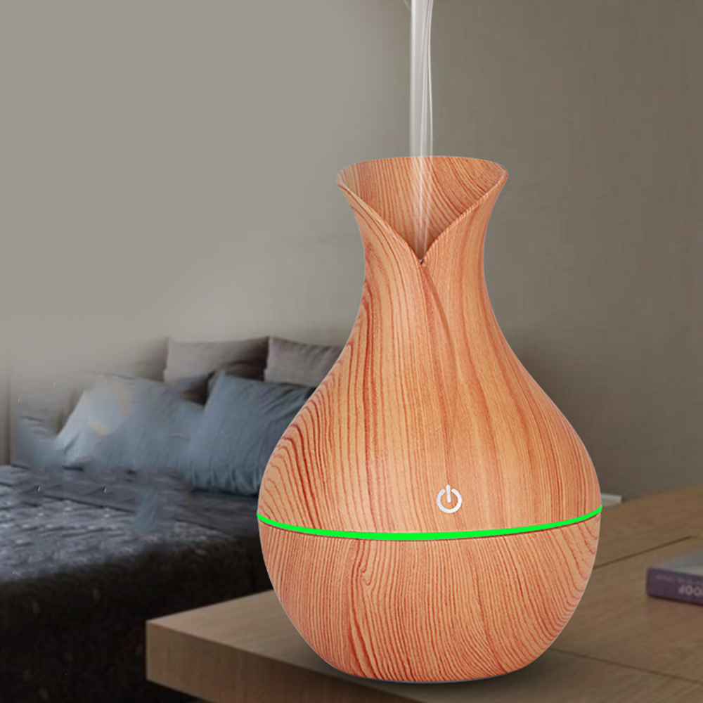 Essential Air Humidifier Ultrasonic Wood Grain Aroma Oil Diffuser USB 7 Color Changing LED Lights Cool Mist Maker for Home