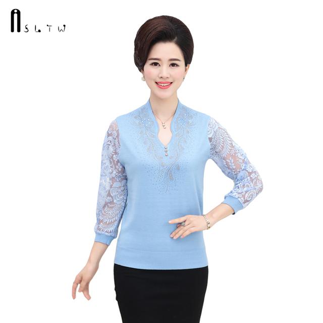 Primavera Verão M-3XL Plus Size Camisetas Femininas Em Malha Costura Blusas Manga Três Quartos Rendas de Croché Mulheres Moda Tops