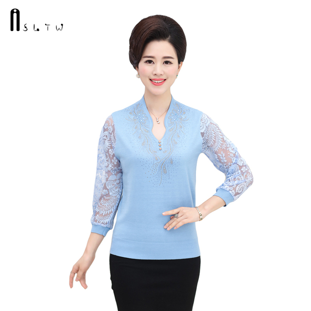 Spring Summer M-3XL Plus Size T-Shirts Women Knitwear Stitching Sweaters Three Quarter Sleeve Lace Crochet Fashion Women Tops