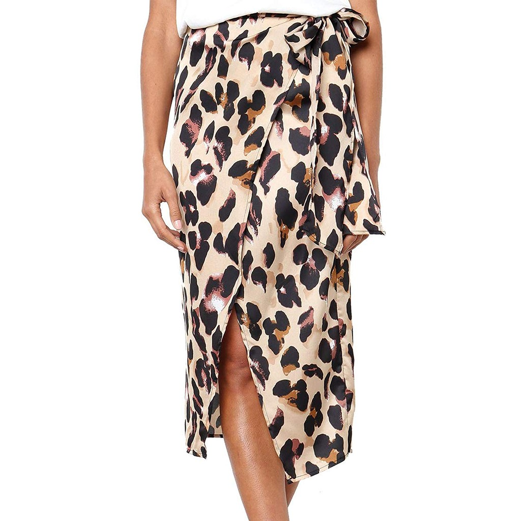 Chiffon Skirt Pleated In Woman Plus Size Leopard Print Vintage Long  Women's   Casual High Waist Pleated  Skirt Summer юбка Z4
