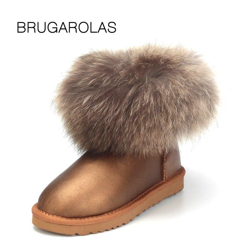 BRUGAROLAS - Genuine Sheepskin 100% Waterproof Leather Mini Fox Fur Ankle Snow Boots Winter Warm Shoes For Women Animal Prints