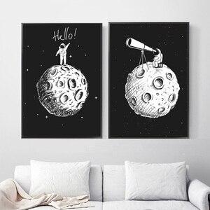 Image 3 - أسود أبيض رائد الفضاء القمر الرسم على لوحات القماش الجدارية الشمال الملصقات و يطبع الكرتون جدار صور للأطفال غرفة الحضانة ديكور