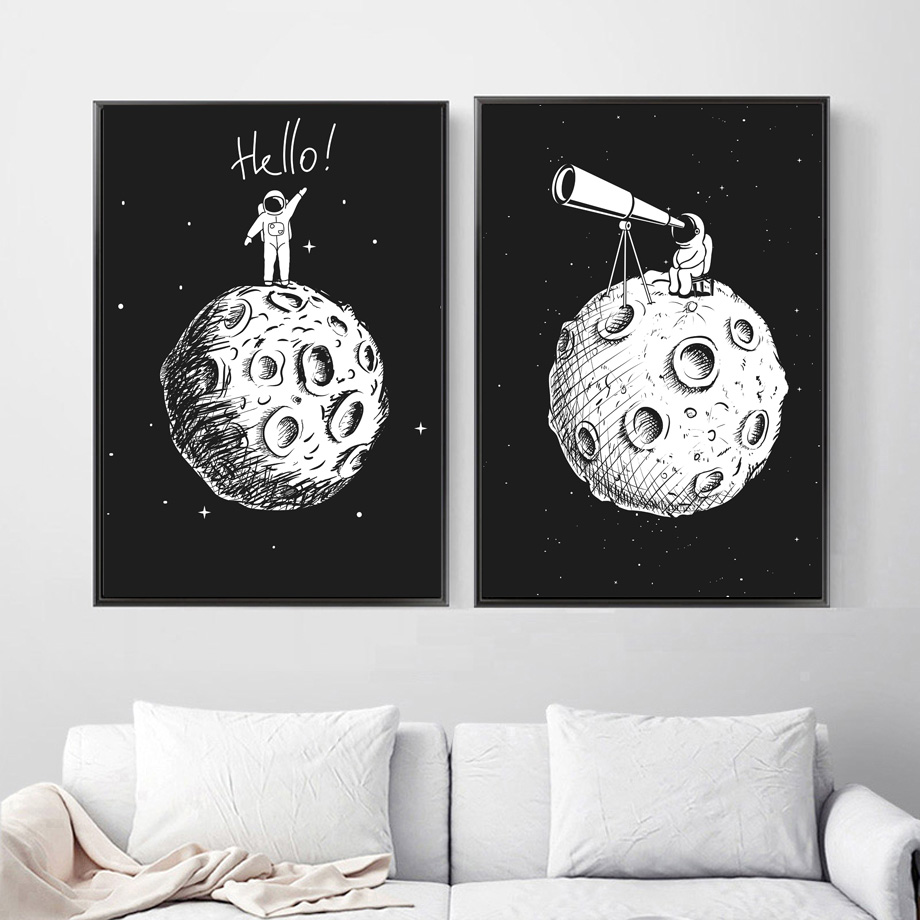 Image 3 - Black White Astronaut Moon Wall Art Canvas Painting Nordic Posters And Prints Cartoon Wall Pictures For Kids Room Nursery Decor-in Painting & Calligraphy from Home & Garden