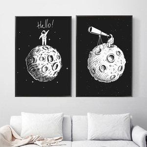 Image 3 - Black White Astronaut Moon Wall Art Canvas Painting Nordic Posters And Prints Cartoon Wall Pictures For Kids Room Nursery Decor