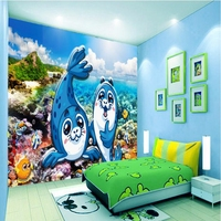 Wallpaper for Girls Room Home Decor Art Underwater World Dolphin Cartoon Cute TV Room Furniture Moving Desktop Wallpaper Study