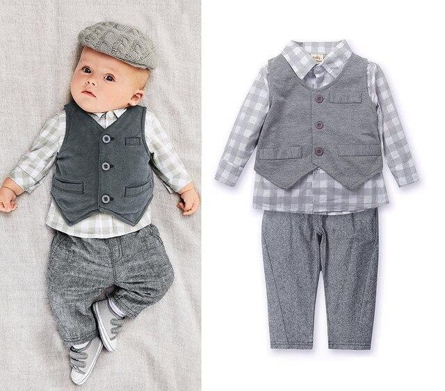 3pcs Toddler Kids Infant Baby Boy Gentleman Vest+Shirt+Pants Plaids Top Trousers Clothing Set Ropa de Bebe