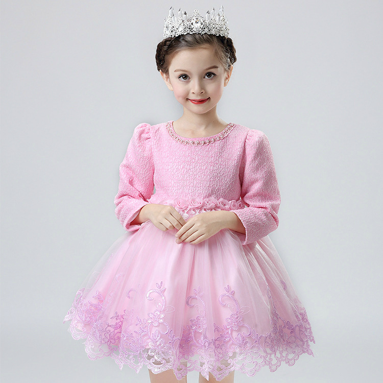 Coréenne princesse filles automne enfants à manches longues dentelle broderie robe avec velours enfants vêtements mince épais 3 couleur - 6