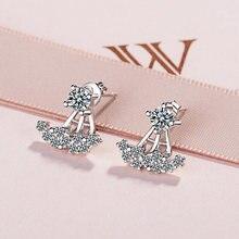 Женские серьги гвоздики серебряного цвета с кристаллами