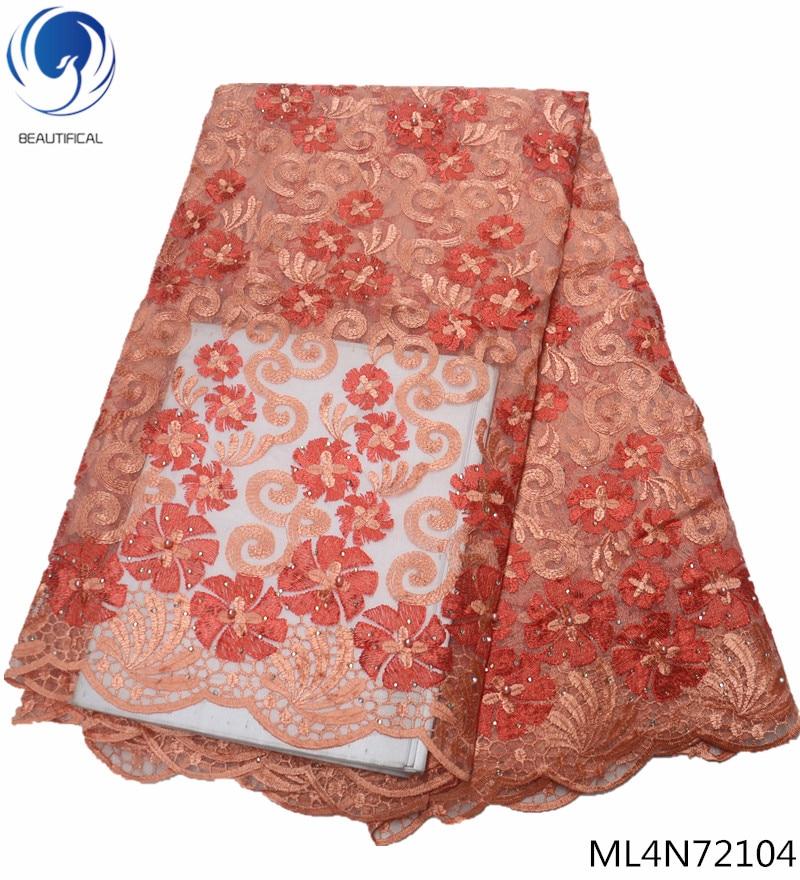 Beau mariage dentelle tissus nigérians fleur dentelle tissu africain tissu lacets broderie matériel africain 5 yards/lot ML4N721