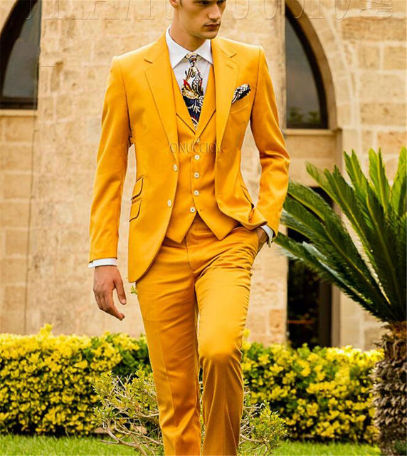 5b007515721d New Yellow Mens Wedding Suits Slim Fit Groomsman Prom Best Men Tuxedo  Business Graduation suit A0150
