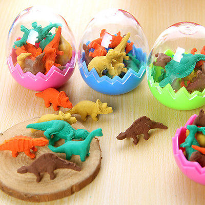 8Pcs Novelty Mini Kawaii Dinosaur Egg Pencil Rubber Eraser With Egg Erasers Students Stationary Gift
