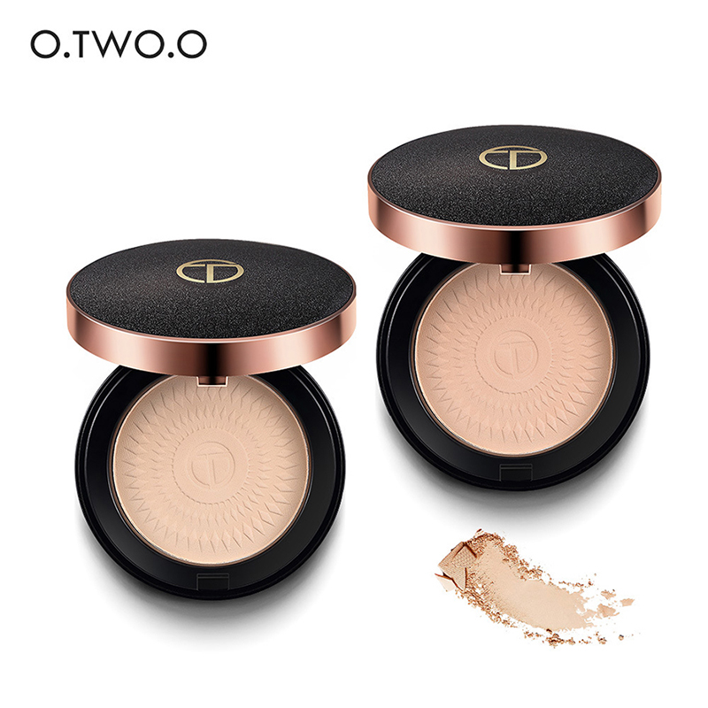 O.TWO.O Makeup Powder 2Colors Natural Smooth Foundations Oil Control Brighten Matte Concealer Pressed Powder with Puff Cosmetics image