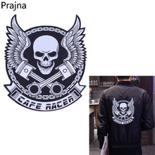 Prajna Wings Skull Patch Embroidered Iron On Patches Biker Big Punk Morale Military Back Patch Stripes For Men's Clothes Sticker