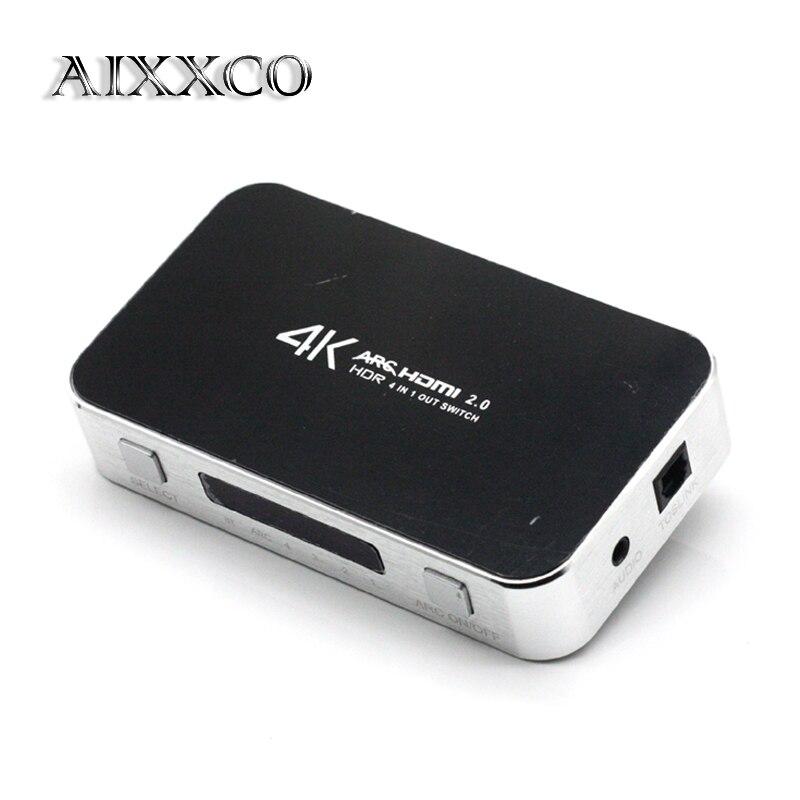 AIXXCO 4X1 Commutateur HDMI avec Audio Optique TOSLINK, ultra HD 4 Ports 4 k x 2 k HDMI Boîte avec Télécommande INFRAROUGE [Soutien D'ARC 3D 1080 p]