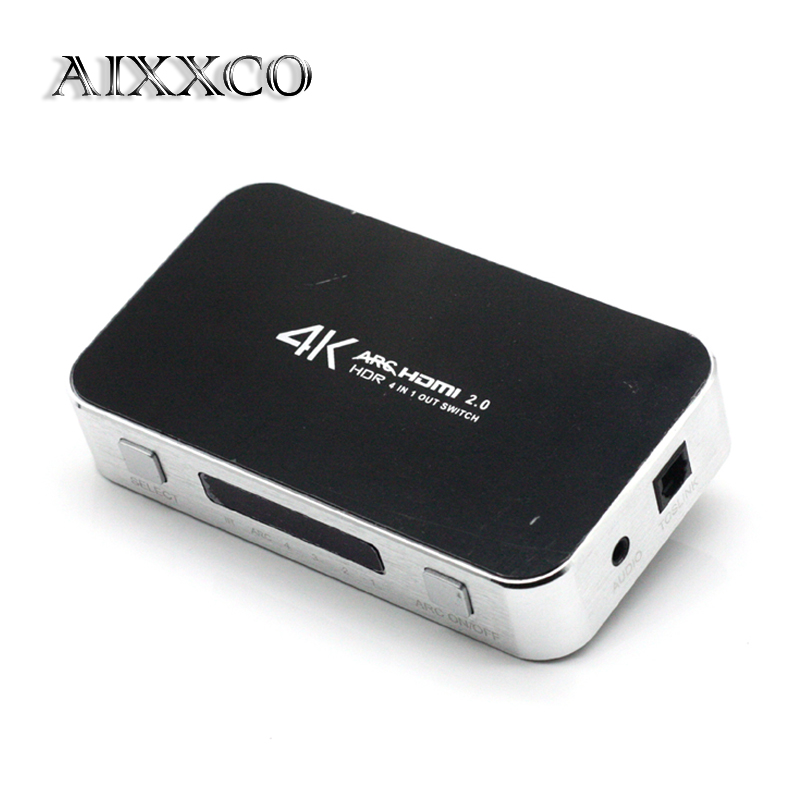 AIXXCO 4X1 HDMI Switch with Audio Optical TOSLINK,Ultra HD 4 Port 4Kx2K HDMI Switcher Box with IR Remote [Support ARC 3D 1080p] aikexin 6 port 4k hdmi switch 6x1 hdmi switch switcher hub with ir remote support optical 3 5mm stereo audio extractor