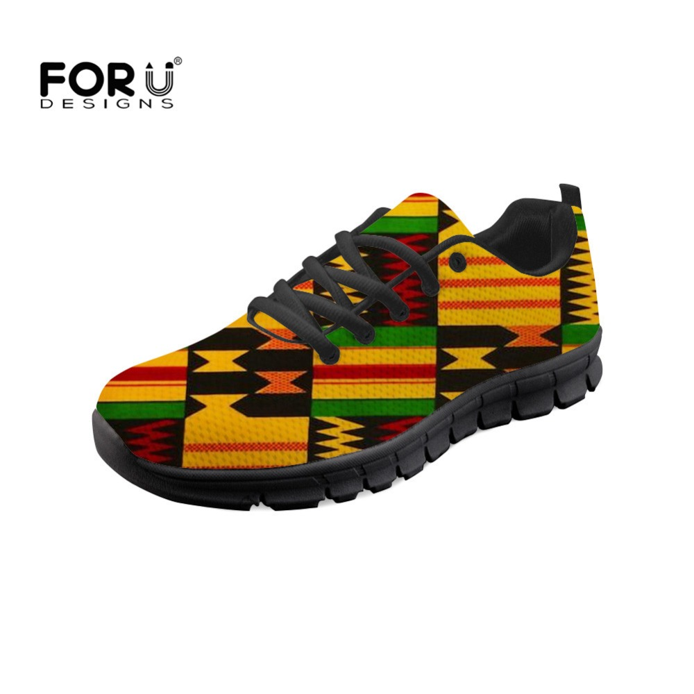 FORUDESIGNS Women Flats Shoes African Ethnic Printing Causal Lace up Female Breathable Mesh Vintage Sneakers Zapatos