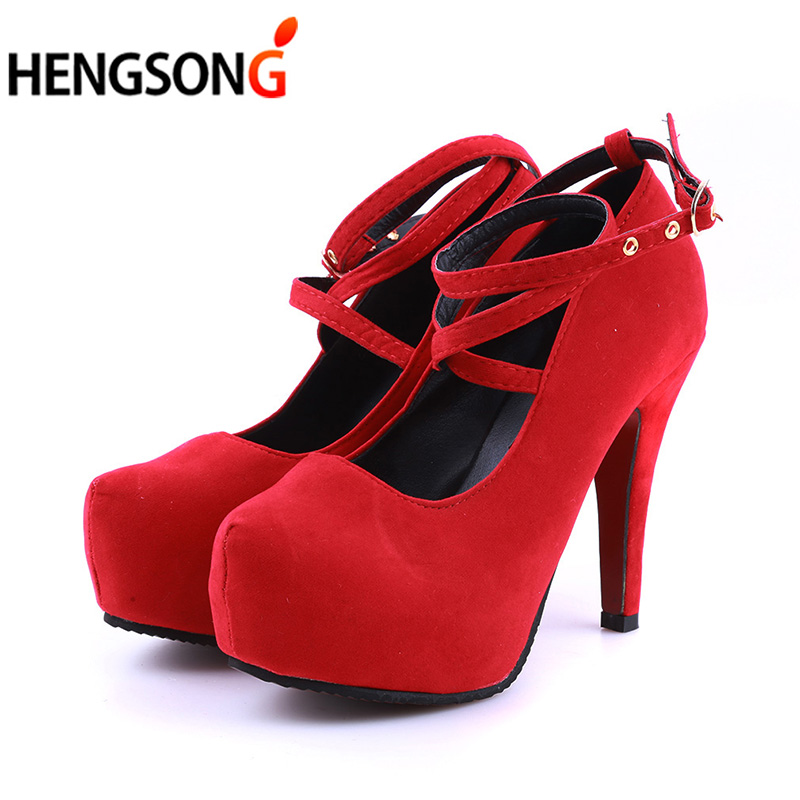 Size 34-42 Super High Thin Heels Shoes Spring Autumn Pumps T-strap Buckle Strap Retro Round Toe Pumps Wedding Shoes Women 911866 2017 free shipping siketu spring and autumn women shoes sex high heels shoes wedding shoes pumps g194