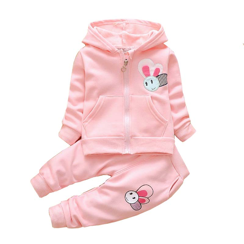 BibiCola Baby Girl Spring Clothing Set Toddler Girls Cotton Cartoon Sport Suit Set Children Kids Casual Clothes Set Baby Clothes