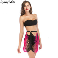 Black Strapless Off Shoulder Crop Top Women Gradient Skirt Sets New Party Club Beach Wear Outfits Sexy Tassel Two Piece Sets