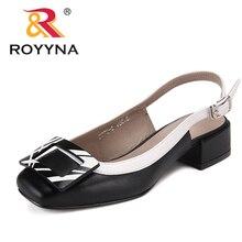 ROYYNA جديد الجدة نمط النساء الصنادل مربع الكعوب فام الصيف الأحذية زخرفة المعادن Feminimo النعال سريع شحن مجاني