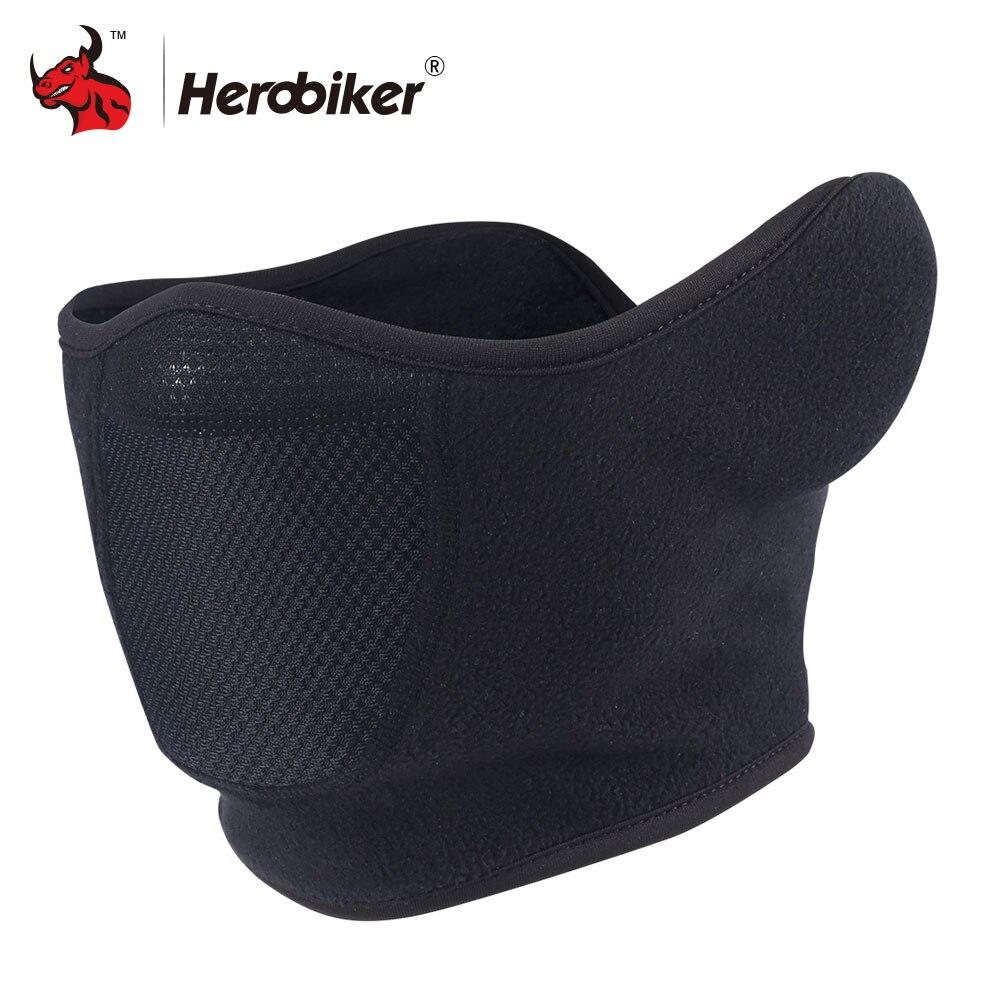 HEROBIKER Motorcycle Mask Windproof Ear Motorcycle Bicycle Mask Motorcycle Warm Half Face Mask Black Balaclava