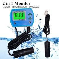 Professional 2 in 1 pH Meter EC meter for Aquarium Multi parameter Water Quality Monitor Online pH / EC monitor Acidometer