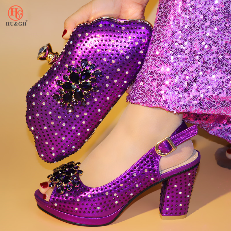 2019 New Purple Shoes And Bag Set Italian Shoe With Matching Bag Best Selling Ladies Matching