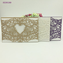 5pcs Set Laser Cut Invitation Card Love Heart Vine Lace Wedding Supplies Favors And