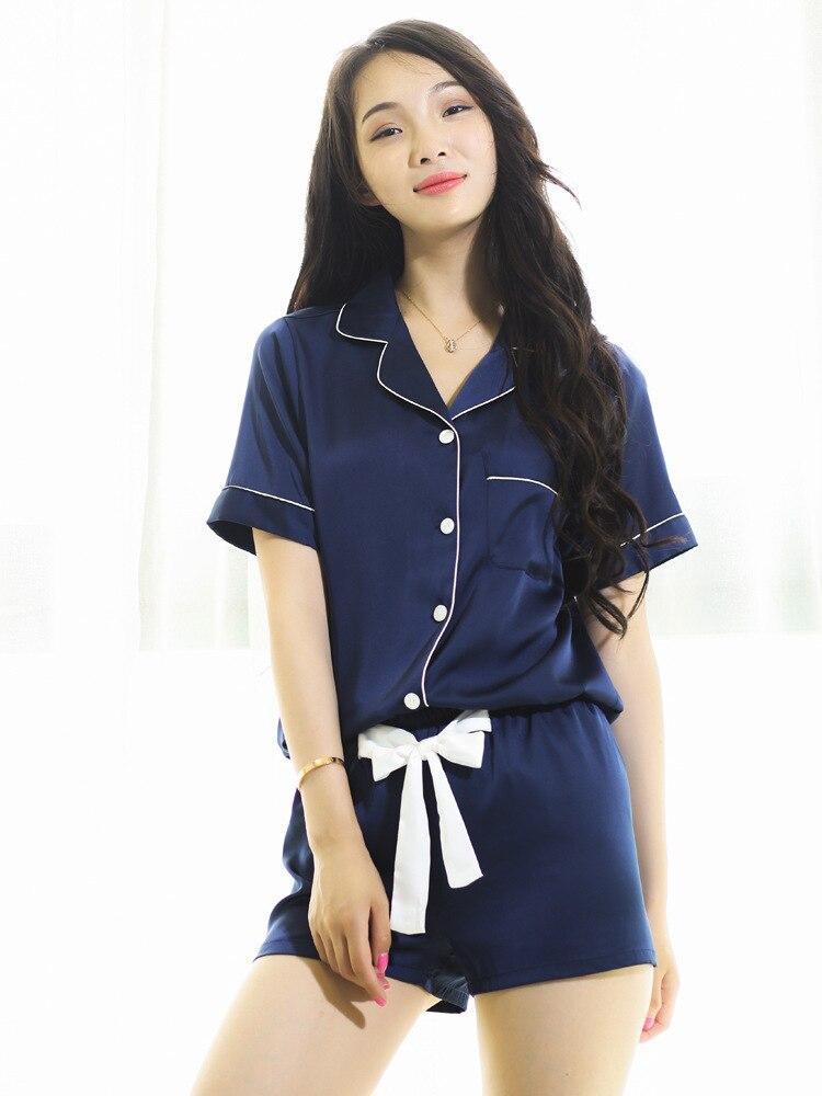 1728c28f414108 New Arrival Satin Kobiety Piżama Ustawia Notch Collar Krótkim Rękawem  Koszule z Krótkimi Spodnie Od Piżamy Piżamy Piżamy Femme