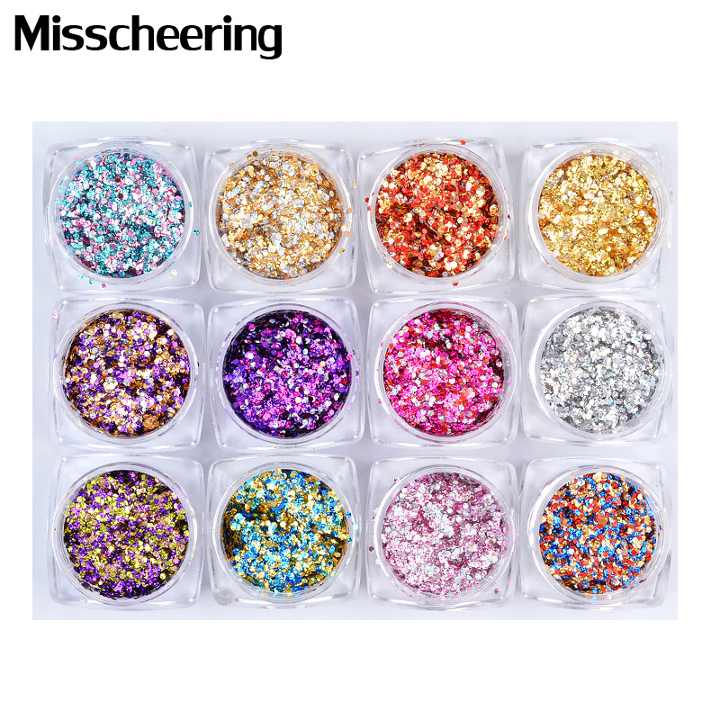 12 Boxen/set Hexagon Nagel Glitter Pailletten Gemischt Farbe Shiny 3d Nail Art Glitter Dekorationen Ultra-dünne Flocken Maniküre Werkzeuge Ruf Zuerst Nagelglitzer Schönheit & Gesundheit