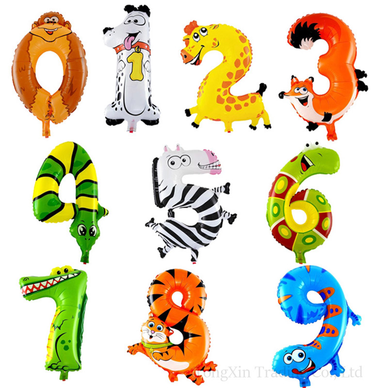 16 Inch Small Animal Digital Balloon Cartoon Aluminium Film Number Balloons Number 0 9 Children Birthday Party Decoration in Ballons Accessories from Home Garden