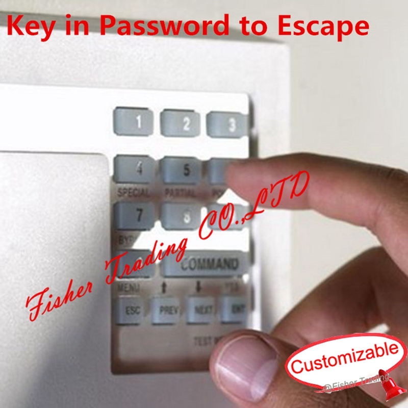 Real room escaping game, puzzle to get right password to escape, press the correct numbering key to open the lock