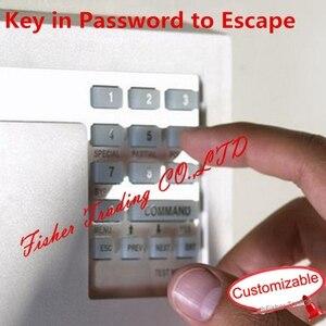 Real sala de escapar do jogo, puzzle para obter a senha correta para escapar, pressione a chave de numeração correta para abrir a fechadura