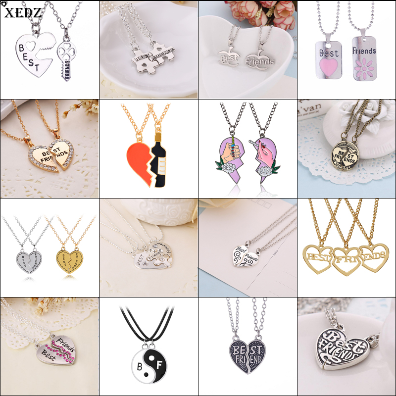 2019 Hot Best Friends Necklace 2Pcs And 3Pcs/Set BFF Series Pendants Alloy Couple Necklace Women's Jewelly Valentine's Day Gifts