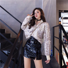 NiceMix new sequins long sleeve o neck sweatshirt empire pu leather black skirt korea chic 2pc set conjunto femme sets