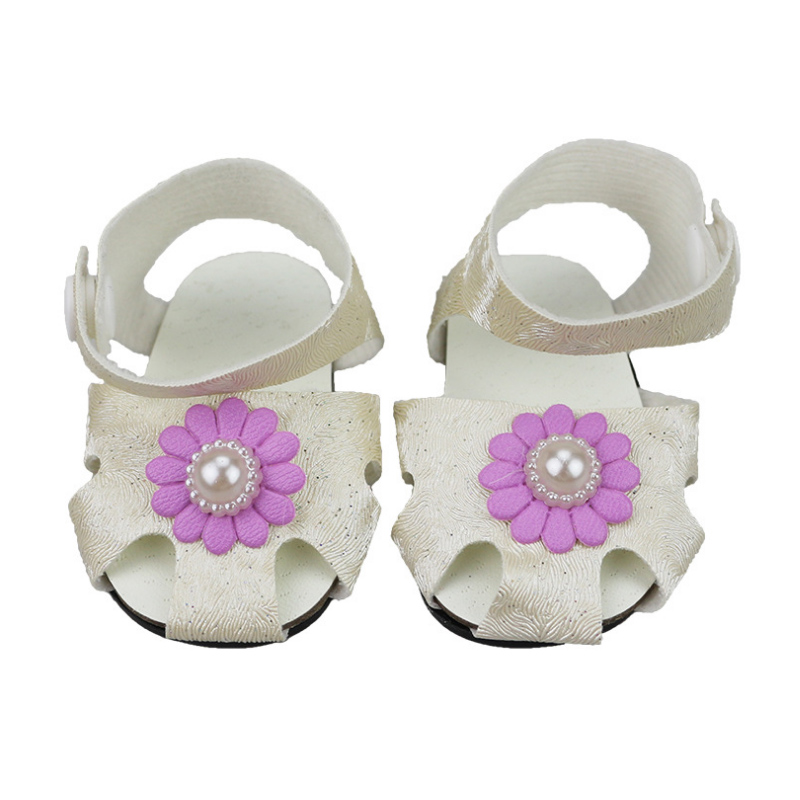 White Sandals with Crystals Fits 18 inch American Girl Dolls