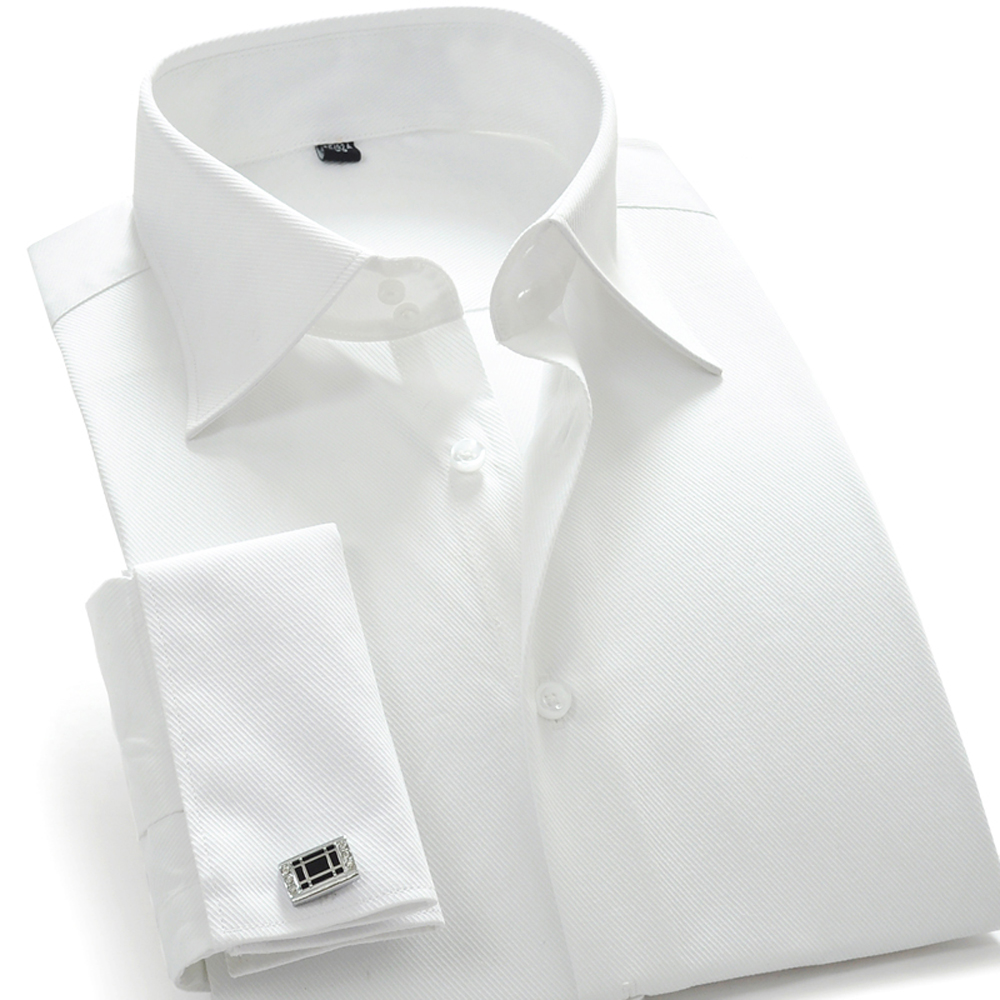 Mens white shirt with cufflinks is shirt for French cuff shirts cheap