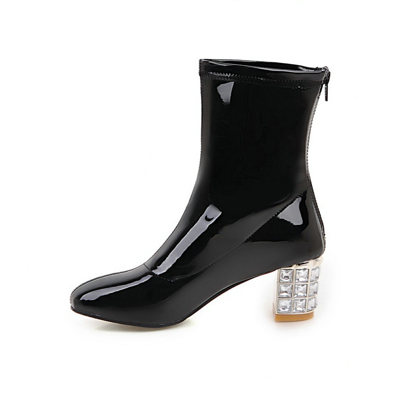 Fashion Rhinestone Thick High Heel Patent Leather Female Ankle Boots Women Autumn Winter Boots Back Zip Large Size Black White