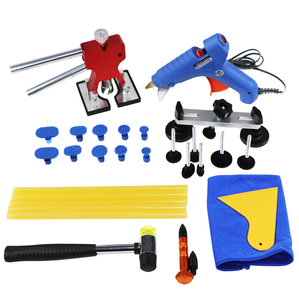 FURUIX PDR Tools Set Paintless Dent Repair Car Dent Removal Hand Tool  dent Puller glue gun 14pcs the key with combination ratchet wrench auto repair set of hand tool kit spanners a set of keys herramientas de mano