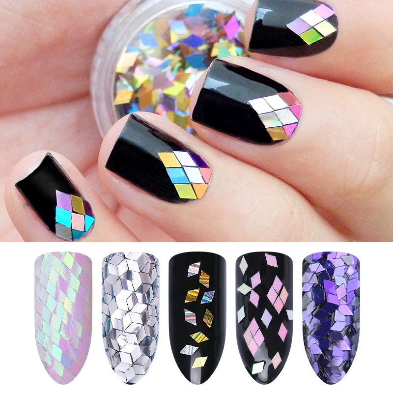 Rhombus Mermaid Unicorn Nail Flakes Sequins 2mm Silver Shining Paillette Manicure Nail Art Decoration holographic marquise nail flakies sequins multicolor diy glitter paillette manicure nail art decoration