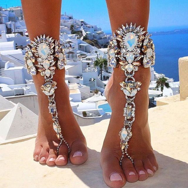 bff6607c5e8d83 1pcs Luxury Crystal Rhinestones Gem Flower Pendant Anklet Chain Ankle  Barefoot Sandals Foot Jewelry  231521