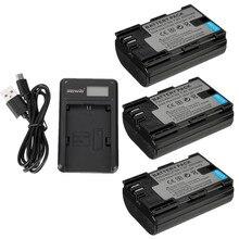 3x lp-e6 lpe6 batería + cargador de batería para canon 5d2 5d3 5d 7d 7d2 6d 60Da 70D 60D 5D Mark II III 2 3 5DS 5DSR 40D 50D 60D 70D