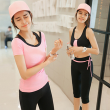 2017 Latest Sexy 3in1 set Yoga Suit Quick Dry Breathable Running Sports Training Clothing Fitness Stretch Well for Women
