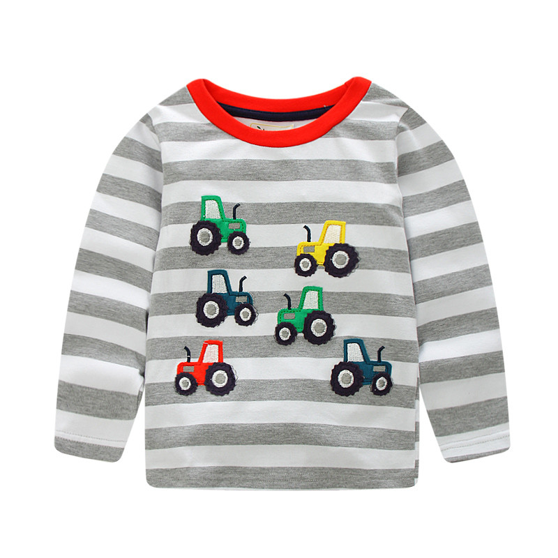 Jumping meters kids boys Tshirt cotoon striped cars applique European childrens wear T-shirts hot long sleeve for baby boy ...