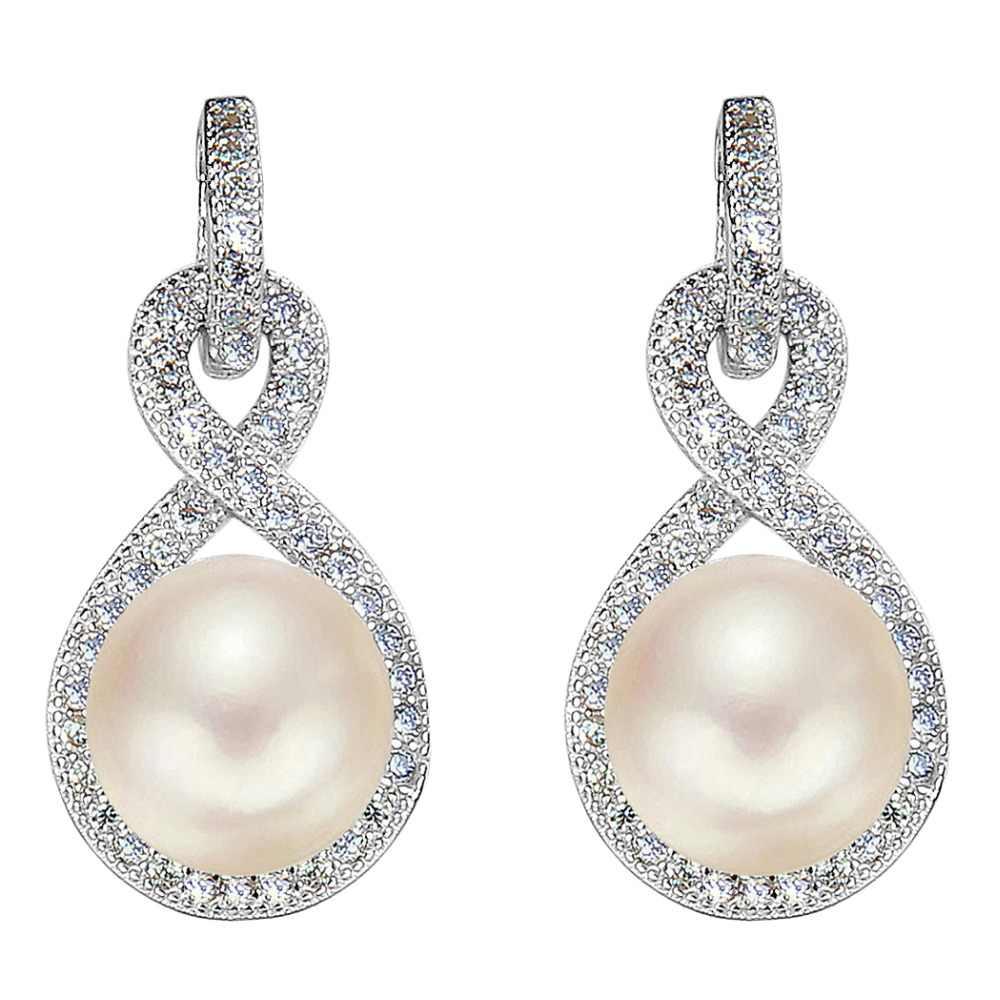 687f7ae47 ... Tuliper 925 Sterling Silver Infinity Bridal Earrings Cubic Zircon  Freshwater Cultured Pearl 9M Earrings For Wedding ...