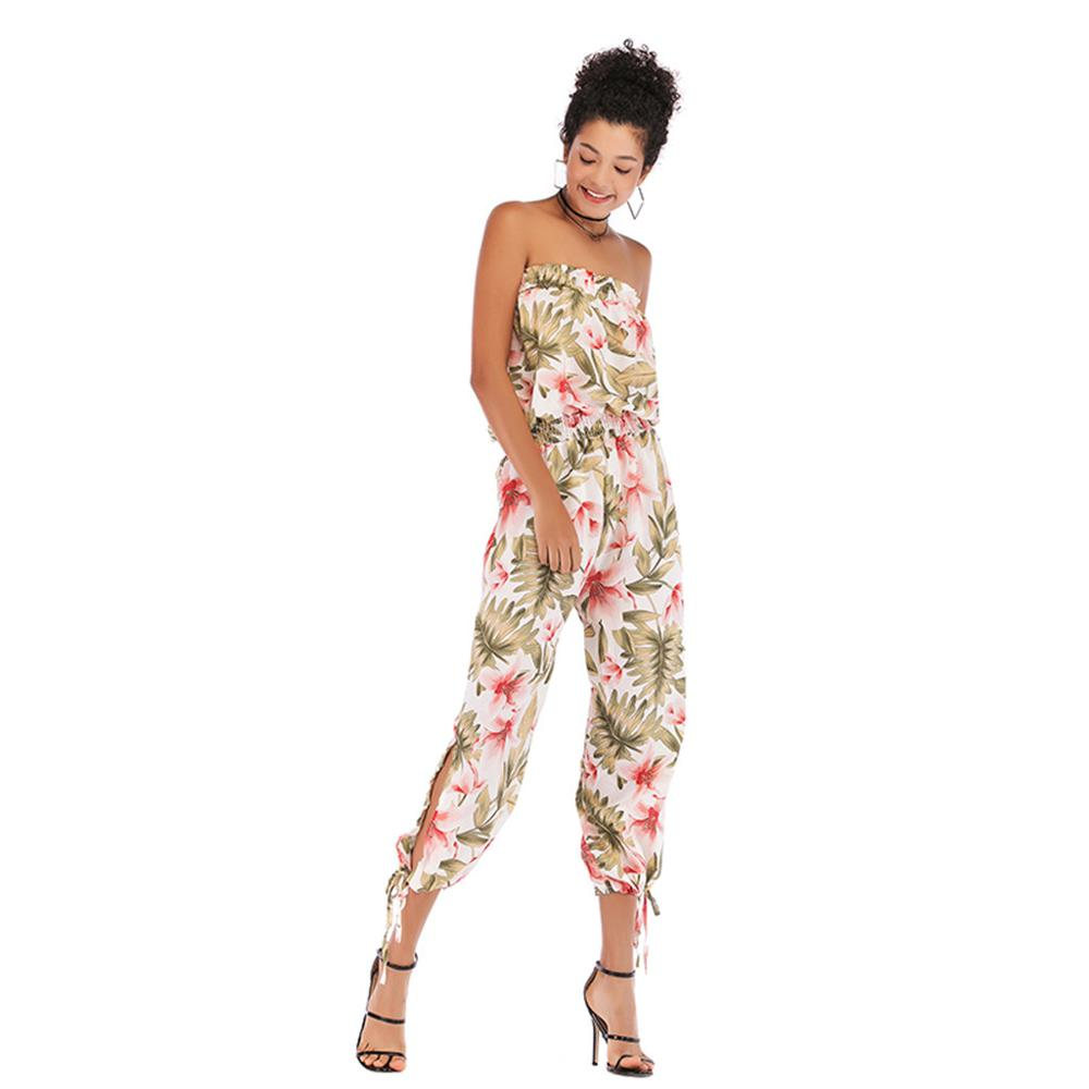 sexy bodysuit jumpsuit summer Womens Print One shoulder Halter Sleeveless Ruffled One-piece Trousers Jumpsuit