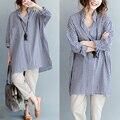 Новая мода Плюс размер женщины хлопок ткань долго плед блузки рубашки женские с длинным рукавом случайные свободные рубашки верхней одежды mujer 5XL 6XL