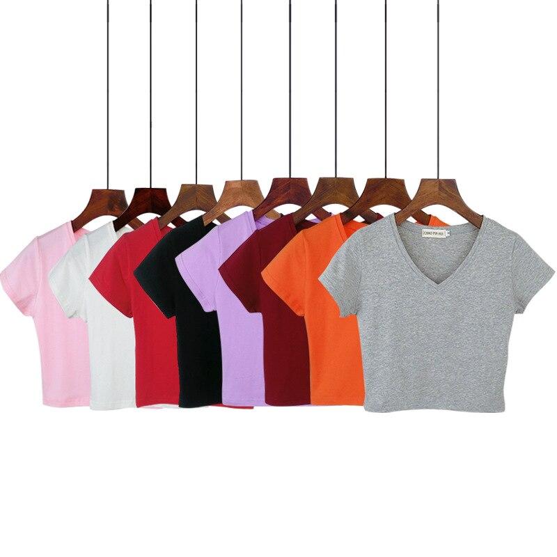 Verão Casual Coreano sólida V-pescoço curto T-shirt feminina de manga curta t-shirt de algodão de alta cintura Fina das mulheres camisa camiseta mujer