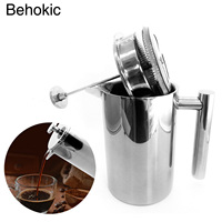 Behogar 1000ml 34oz Double Wall Stainless Steel Insulated Coffee Teapot French Coffee Press Maker Pot With Filter