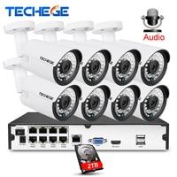 8CH 1080P CCTV System Audio Record 2MP 3000TVL PoE Kit Surveillance Camera Waterproof IR Night Vision